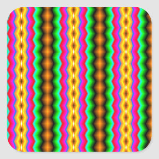 Vertical colorful line pattern square sticker