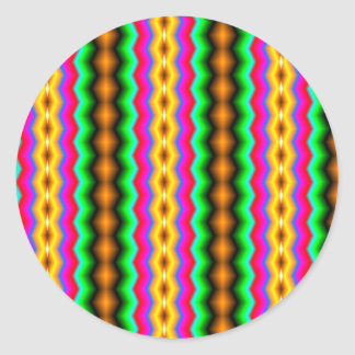 Vertical colorful line pattern trendy classic round sticker
