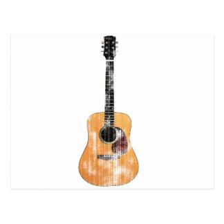 Vertical de la guitarra acústica apenada tarjetas postales
