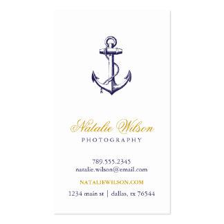 Vertical del ancla del vintage de los azules marin plantillas de tarjeta de negocio