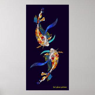 Vertical del poster del boda de los pescados de