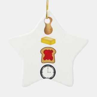 Vertical del tiempo de la jalea de la mantequilla adorno navideño de cerámica en forma de estrella
