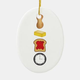 Vertical del tiempo de la jalea de la mantequilla adorno navideño ovalado de cerámica