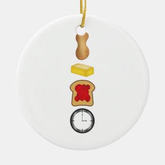Vertical del tiempo de la jalea de la mantequilla adorno navideño redondo de cerámica