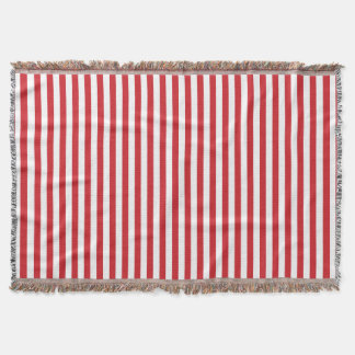 Vertical Fire Engine Red Stripes Throw