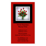 Vertical Florist Roses Bouquet Vase Black Red Double-Sided Standard Business Cards (Pack Of 100)