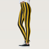 Vertical Gold and Black Stripes Leggings