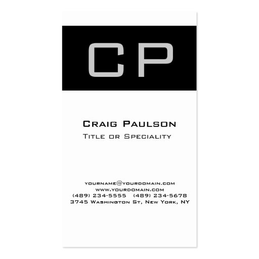 Vertical Gray Black White Monogram Business Card