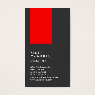 Vertical Gray Red Trendy Consultant Business Card