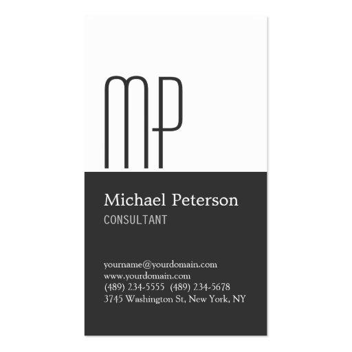 Vertical Gray White Stripe Monogram Business Card Business Card