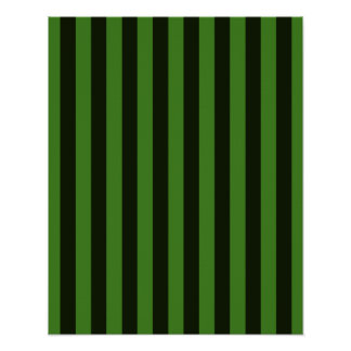 Vertical Green & Black Classic Stripes Background Posters