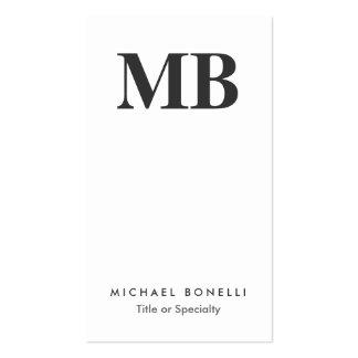 Vertical Grey Monogram White Clean Business Card