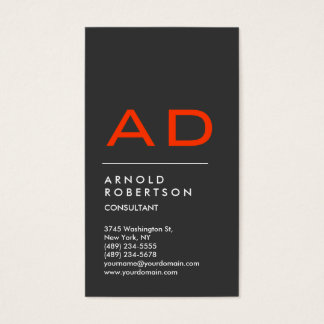Vertical Grey Orange Trendy Monogram Business Card
