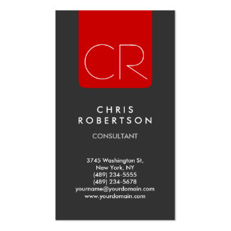 Vertical Grey Red Stripe Monogram Business Card