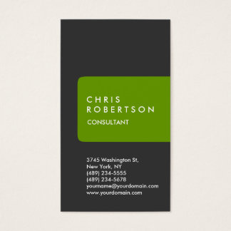 Vertical Grey White Green Stripe Business Card