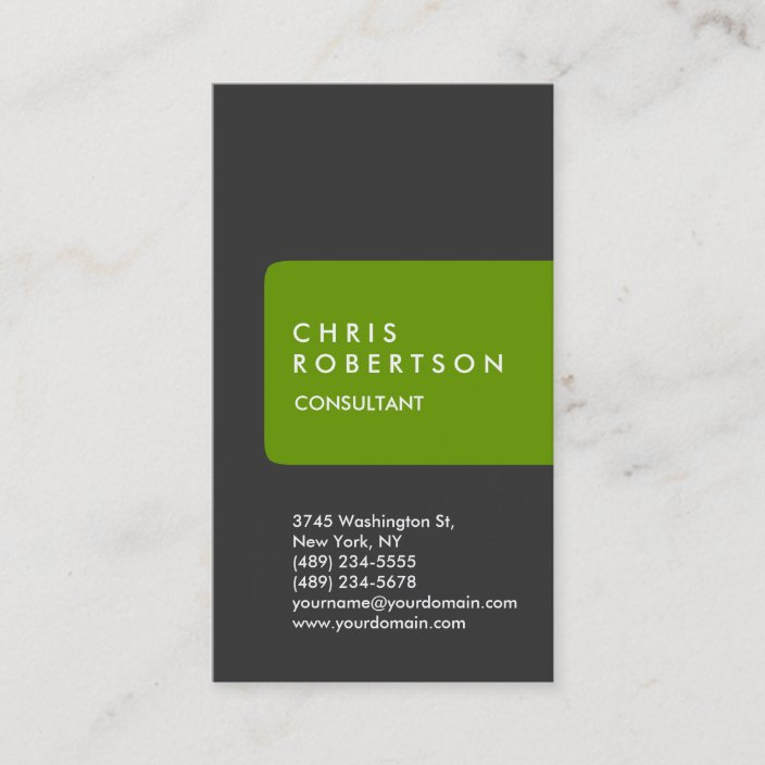 White With Green Stripe Personalized Business Cards