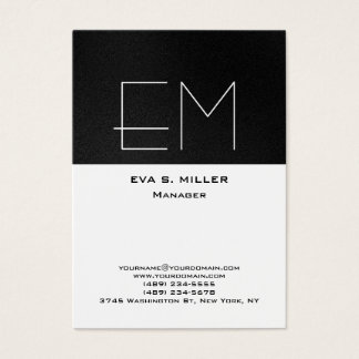 Vertical grey white monogram professional modern business card