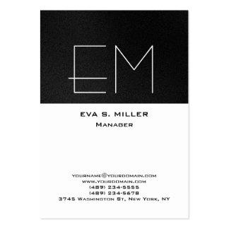 Vertical grey white monogram professional modern large business card
