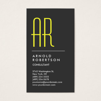 Vertical Grey Yellow Monogram Business Card