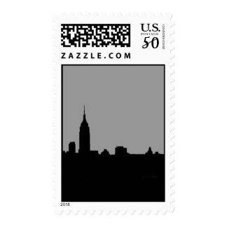 Vertical Greyscale New York Silhouette Postage