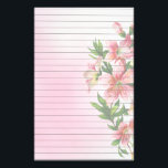 "Vertical Group of Pink Flowers Lined Stationery<br><div class=""desc"">Pretty vertical group of pink flowers and greenery against a soft pink watercolor background. Lines for easy writing</div>"