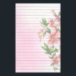 """Vertical Group of Pink Flowers Lined Stationery<br><div class=""""desc"""">Pretty vertical group of pink flowers and greenery against a soft pink watercolor background. Lines for easy writing</div>"""