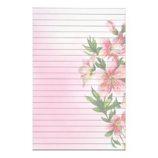 Vertical Group of Pink Flowers Lined Stationery