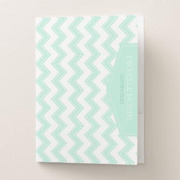 Beach Themed Vertical Label on Chevrons Mint Green ID393 Pocket Folder