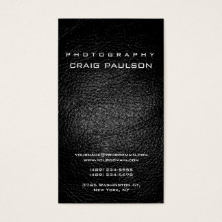 Vertical Leather Effect Photography Business Card
