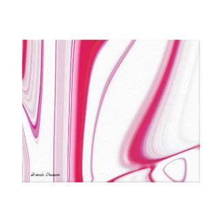 Vertical Line Rose Color/White Abstract Canvas Print