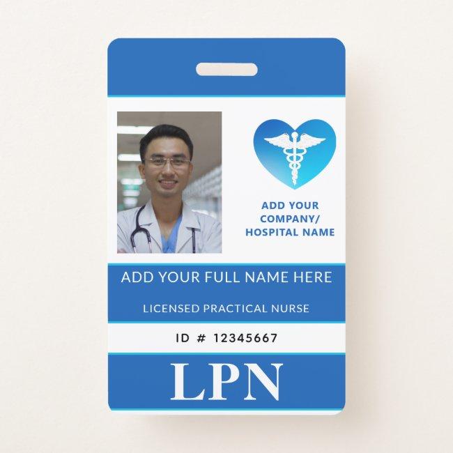 Vertical LPN, Licensed Practical Nurse, Photo ID Badge