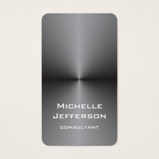 Vertical Metallic Silver Gray Stylish Trendy Business Card