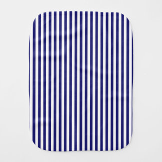 Vertical Midnight Blue Stripes Baby Burp Cloth