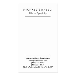 Vertical Minimalist Simple Plain Business Card