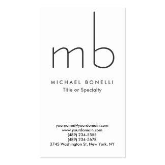Vertical Modern Monogram White Clean Business Card