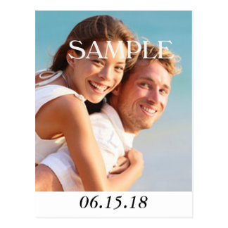 Vertical Modern Photo Save the Date Wedding Postcard