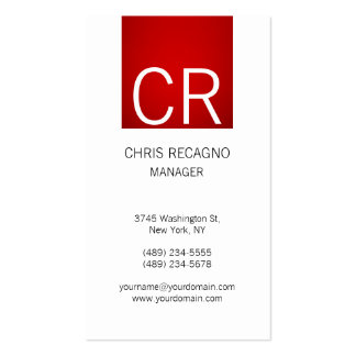 Vertical Modern Red Stripe White Business Card
