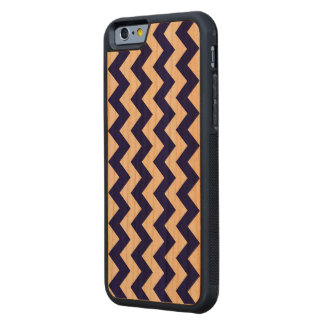 Vertical Navy and White Zigzag Carved® Cherry iPhone 6 Bumper Case