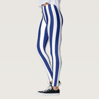 Vertical Navy Blue Stripes Decor on Leggings