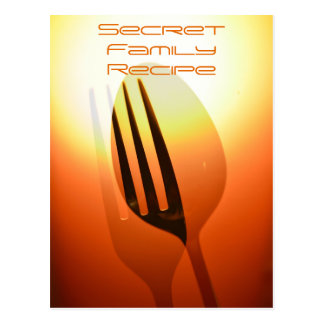 Vertical Orange Fork and Spoon Recipe Card Postcard