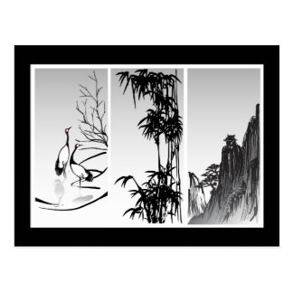 Vertical Oriental Scroll Postcard