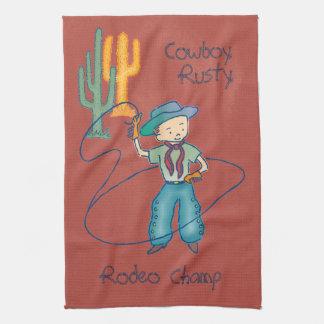 Vertical oxidada del campeón del rodeo del vaquero toalla