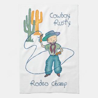 Vertical oxidada del campeón del rodeo del vaquero toalla de cocina