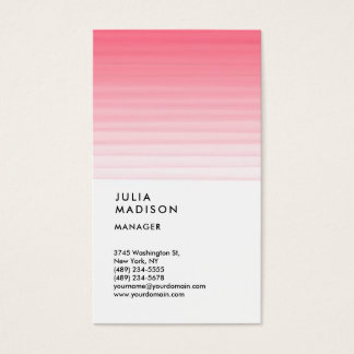 Vertical Pink White Trendy Manager Consultant Business Card
