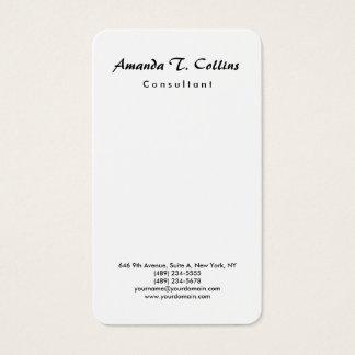 Vertical Plain Brush Script Minimalist Modern Business Card
