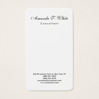 Vertical Plain Brush Script Minimalist Simple Business Card