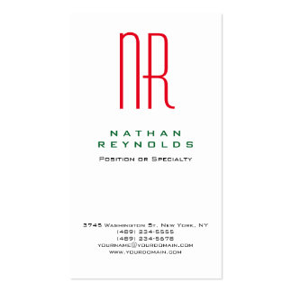 Vertical professional simple white red monogram Double-Sided standard business cards (Pack of 100)