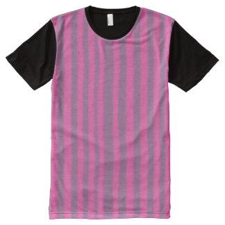 Vertical Purple and Pink Stripes All-Over Print T-shirt