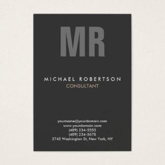 Vertical Quality Grey Monogram Unique Business Card