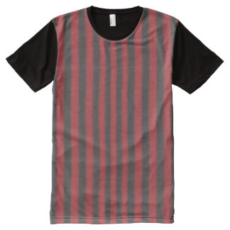 Vertical Red and Black Stripes All-Over Print Shirt